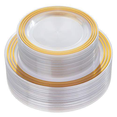 - 60 Piece Disposable Gold Plates, Plastic Clear Plates -Wedding Plate sets Includes:30 Dinner Plates and 30 Salad or Dessert plates