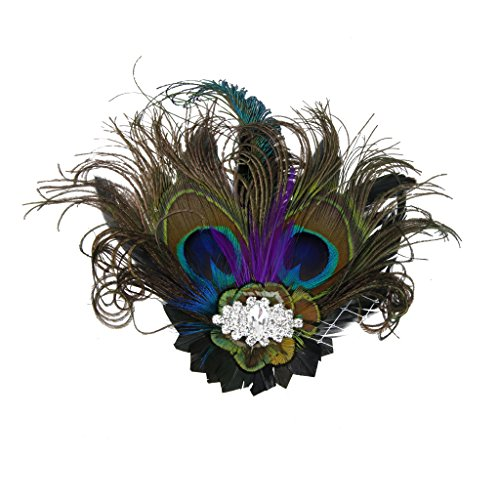 MagiDeal Vintage Retro Peacock Feather Fascinator Hair Clip Party Headwear Pattern (Pattern For A Peacock Costume)
