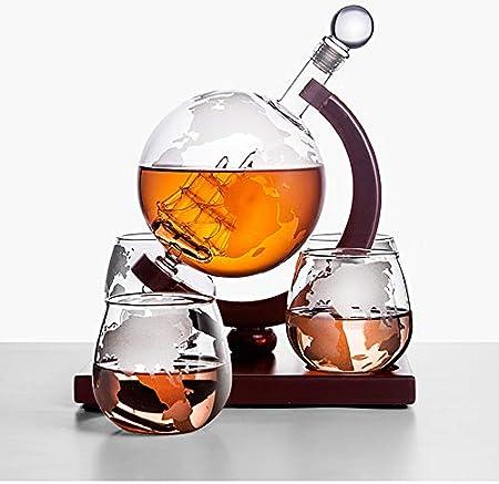 Juego De Jarra De Whisky, Botella De 1000 Ml, 4 Vasos Copa De Whiskey De 250 Ml, Decantador De Cristal, Vaso Agua Chupito, Personalizado Licorera Vino, Decanter para Licor Wiski Vodka