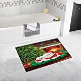 InterestPrint Dogs Celebrate New Year with Christmas Tree and Fireplace Luxury Microfiber Washable Bath Rug For Floor Bathroom Bedroom Living Room