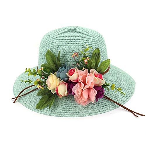 LOKOUO New Straw Hat Ladies Beach Large Dome Hat Shade Garden Flowers Big Sun Hat Bowl Hat Fisherman Hat Fruit green adjustable,onesize,Khaki