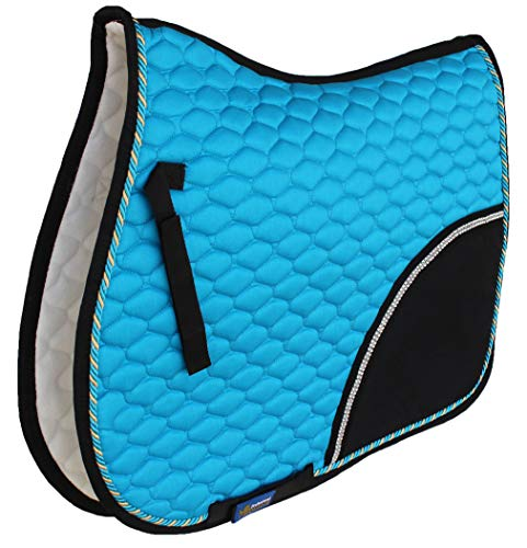 Professional Equine Horse All Purpose Cotton Quilted English Saddle PAD Trail Turquoise Black 72F01