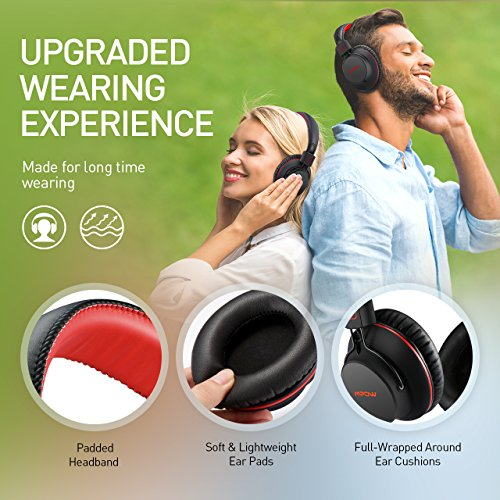 Large Product Image of Mpow H1 Bluetooth Headphones Over Ear Lightweight, Comfortable for Prolonged Wearing, Hi-Fi Stereo Wireless Headphones, Foldable Headset w/ Built-in Mic and Wired Mode for PC/ Cell Phones Black-Red