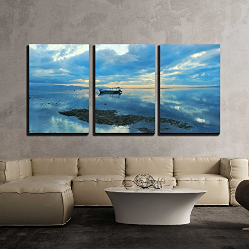 Dawn Framed Art - wall26 - 3 Piece Canvas Wall Art - Bali Sanur Beach at Dawn - Modern Home Decor Stretched and Framed Ready to Hang - 24