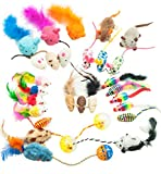Fashion's Talk Mouse Cat Toys Mixed Bag 27 Assorted Mice Toy for Cats Kitten Catnip,Feather,Furry,Rattle,Plush,Fur,Interactive Kitty Toys
