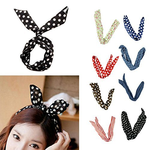 Voberry Pretty Cute 8pcs /lot Different Colors Rabbit Bunny Ear Girl Hair Headband Scarf DIY Wire Band Bow Head Wrap Assorted Colors by HP95(TM)