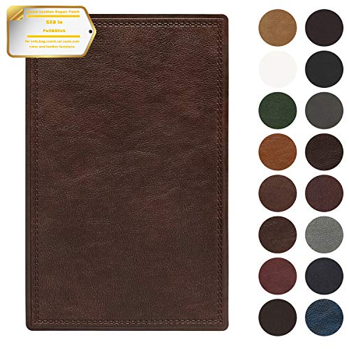Leather Repair Patch Self-Adhesive Couch Patch Emboss Leather 5X8 inch for Sofas, Car Seats, Handbags, First Aid Patch (Red Brown)