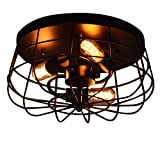 Lovedima Industrial Loft Metal Cage Three Exposed Bulbs Semi Flush Mount Ceiling Light Lamp Fixture in Black Finish