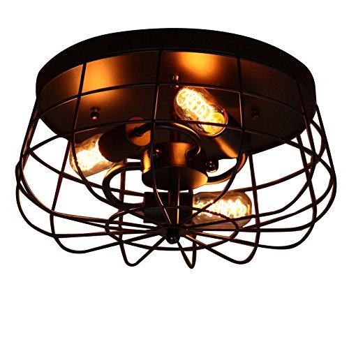 Mount Light Semi Flush Lamp - Lovedima Industrial Loft Metal Cage Three Exposed Bulbs Semi Flush Mount Ceiling Light Lamp Fixture in Black Finish
