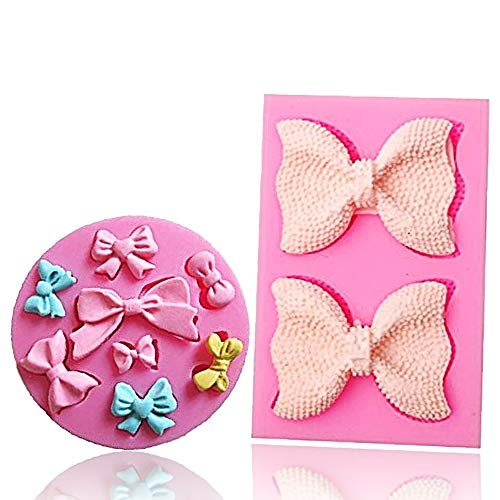 (Bow Silicone Fondant Mold Bowknot Sugar Craft DIY Gumpaste Cake Decorating Clay mold chocolate Cupcake Topper)