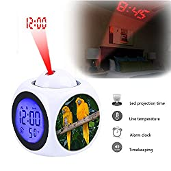 Projection Alarm Clock Wake Up Bedroom with Data and Temperature Display Talking Function, LED Wall/Ceiling Projection,Customize the pattern-157. Guaruba guarouba -National Aviary -USA-6-2c