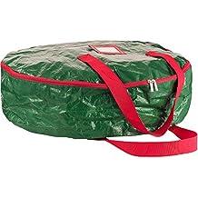 "Zober Wreath Storage Bag 30"" - Tear Resistant Material Storage Bag for Wreath Storage With Sleek Zipper, Featuring Transparent Card Slot 30""L 30""W 8""H (Green)"