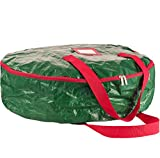 ZOBER Wreath Storage Bag 30'' - Tear Resistant Material Storage Bag for Wreath Storage With Sleek Zipper, Featuring Transparent Card Slot 30'' L 30'' W 8'' H (Green)