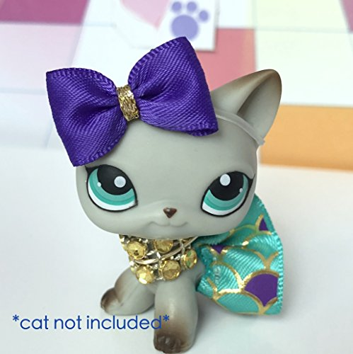 Littlest Doll Angel (Littlest Pet Shop Custom Accessories LPS Lot Bow Skirt Necklace CAT NOT INCLUDED)