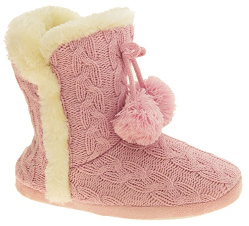 Dunlop Mujer Eleanor Cable De Punto Botas De Piel De Zapatilla Forrado Color de rosa