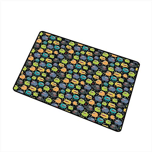 RelaxBear Alien Welcome Door mat Cute Funny Characters Cartoon Style Halloween Themed Monsters Abstract Background Door mat is odorless and Durable W23.6 x L35.4 Inch Multicolor -