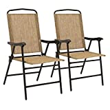 Best Choice Products Set of 2 Portable Patio Sling Back Folding Chairs (Brown)