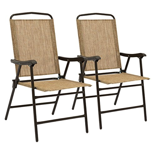 Best Choice Products Set of 2 Portable Patio Sling Back Folding Chairs (Brown) by Best Choice Products