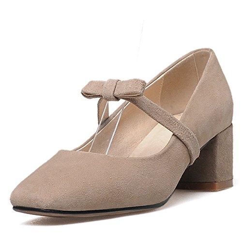 Nine Seven Cuero Moda Puntera Cuadrada Zapatos de Tacón Grueso con Lazo para Mujer caqui