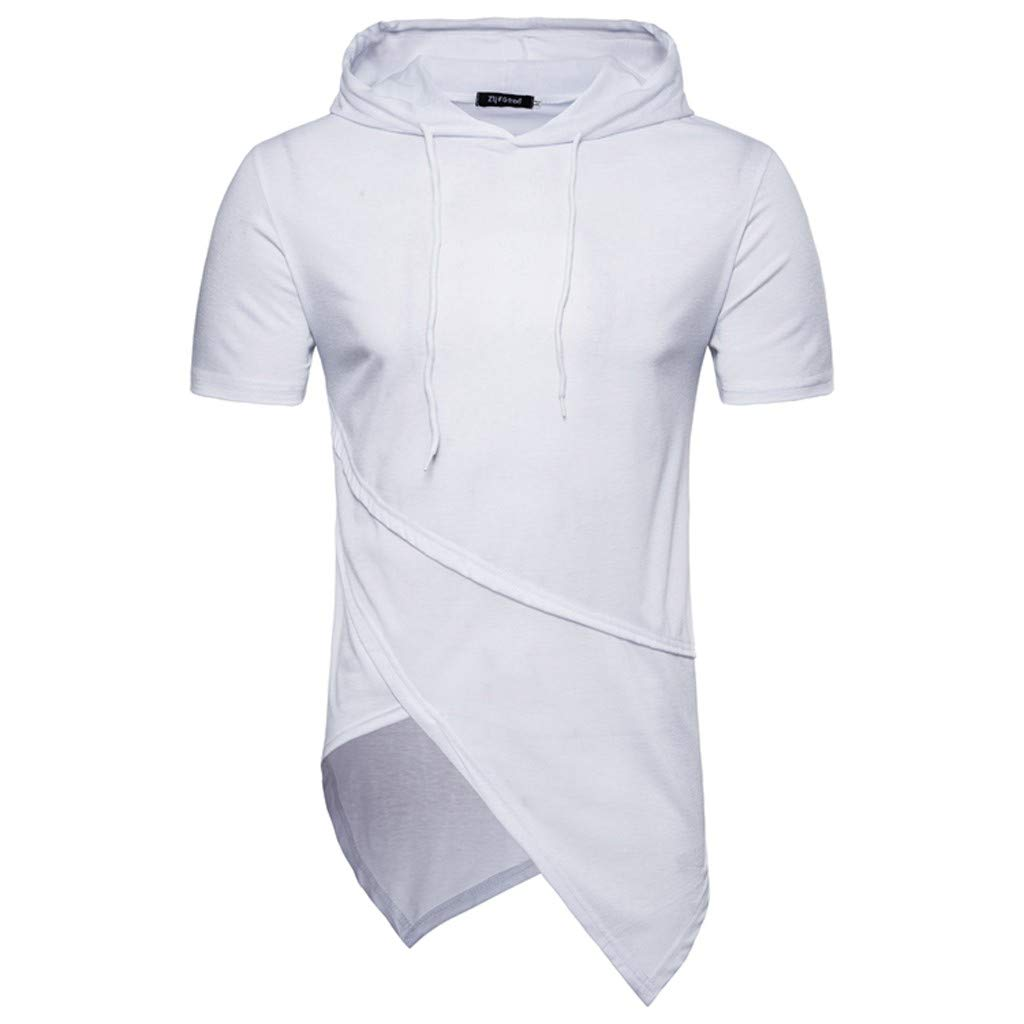 Mr.Macy Mens Irregular Hem Hooded Solid Color Sport Short Sleeve Tee Top Blouse Shirt