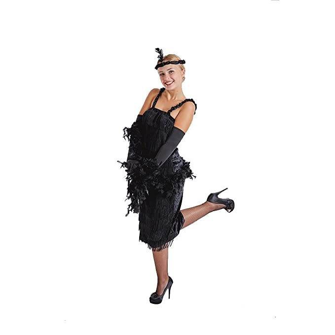 Charm Rainbow Vestido de Fleco Negro 1920s Vintage de Mujer para Fiesta