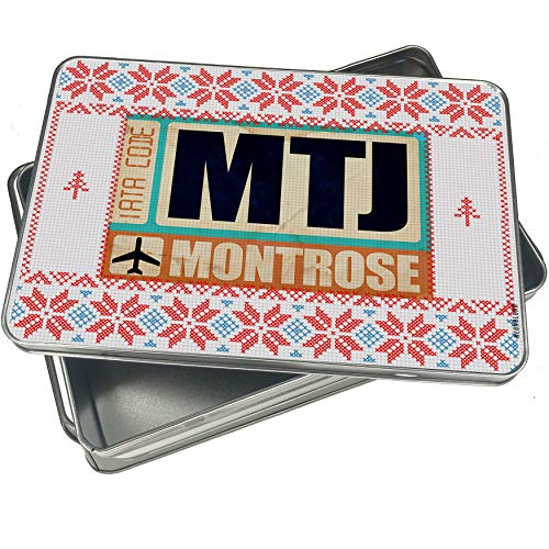 NEONBLOND Cookie Tin Box Airportcode MTJ Montrose Vintage Christmas Pattern -