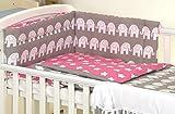 5 pc Baby Bedding Set for Cot 120X60 Or Cot Bed 140X70cm Inc -Duvet+Pillow+Duvet Cover+Pillow CASE+ Bumper (Cot 120X60, Grey Elephant/Pink -Reversible)