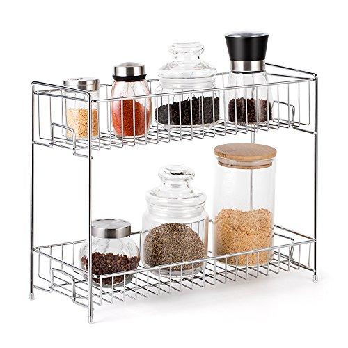 NEX 2-Tier Standing Rack Countertop Storage Organizer Spice Jars Bottle Shelf Holder Rack Kitchen Bathroom by NEX