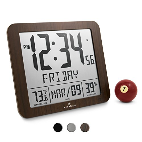 Tone Table Clock (Marathon CL030067WD Slim Atomic Full Calendar Clock with Large 3.25