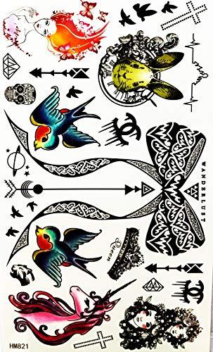 Bird Unicorn Rabbit Thai Pattern Bow Lovey Pattern 4X8 in MEGADEE Tattoo Sticker Body Arm Leg Body Art Beauty Makeup Cool Removable Waterproof Tattoo Sticker Great as Happy Gift (Tattoo Sticker 098)