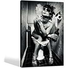 Sea Charm - Fashion Toilet Sexy Woman Canvas Print Modern Bar Girl Smoking and Drinking in Restroom Painting Picture Poster Framed for Bedroom Hotel Wall Decoration -24x36inches (girl-3)