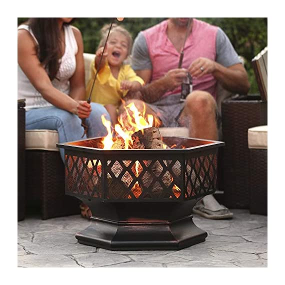 Best Choice Products 24in Hex-Shaped Steel Fire Pit Decoration Accent for Patio, Backyard, Poolside w/Flame-Retardant Lid - Black - Made with a durable steel construction, finished in a distressed bronze with a gorgeous rustic lattice design Features a deep and wide hex-shape bowl capable of holding a lot of firewood The fire-retardant lid does a great job at limiting ashes emitting from use - patio, outdoor-decor, fire-pits-outdoor-fireplaces - 51pTSPOfEfL. SS570  -