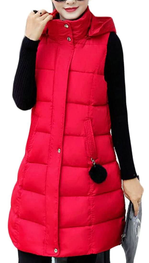 FLCH+YIGE Women's Fashion Fit Long Solid Hoodies Plus Size Down Vest Padded Coat