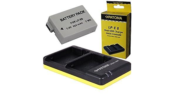 Dual Cargador PATONA + 1x Bateria para Canon LP-E8 EOS 550D 600D 650D 700D: Amazon.es: Electrónica