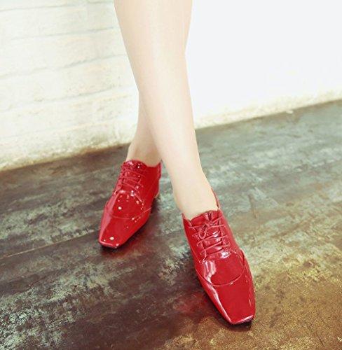 Show Shine Womens Moda Tacco Grosso Tallone Oxford Scarpe Rosse