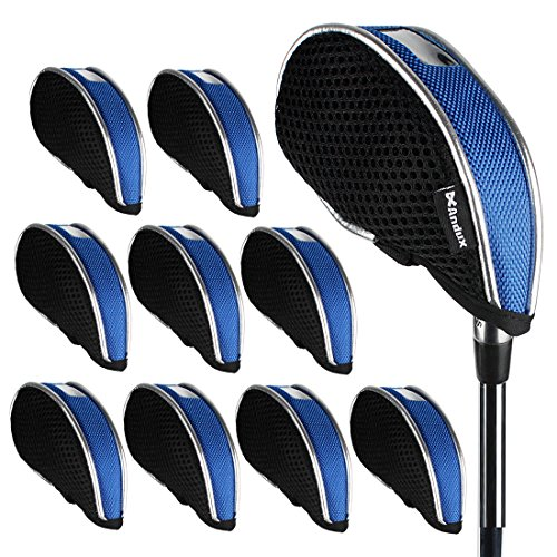 Andux Mesh Golf Iron Head Covers Windows 10pcs/Set 01-YBMT-001-02 Black/Blue (Cg Black Irons Cleveland)