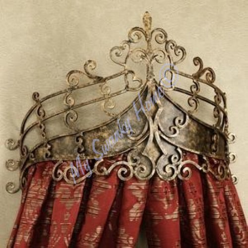 (Victorian Scroll Wrought Iron Bed Crown | Baroque Tester Metal)