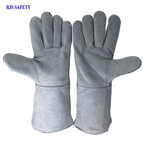 AINIYF (13.8x6.7Inches) Forge Welding & BBQ Leather Gloves, Extreme Heat/Fire Resistant With Long Sleeve For Grill/Forge/Fireplace/Tig Welder/Mig Welding/Gardening Gloves(Grey) by AINIYF (Image #7)