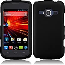 HR Wireless Rubberized Cover Case for ZTE Concord II - Retail Packaging - Black