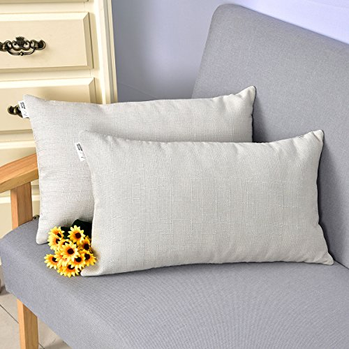 Natus Weaver Linen Lumbar Cushion Covers Throw Pillow Cases for Sofa / Bench / Couch, Light Grey , 12