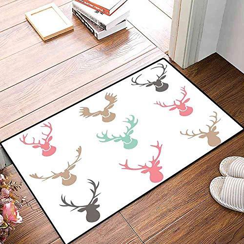 (NineHuiTechnology Place mats Reindeer Antlers Illustration Hunt Countryside Jungle Nature Silhouette Art Carpet Pad 16