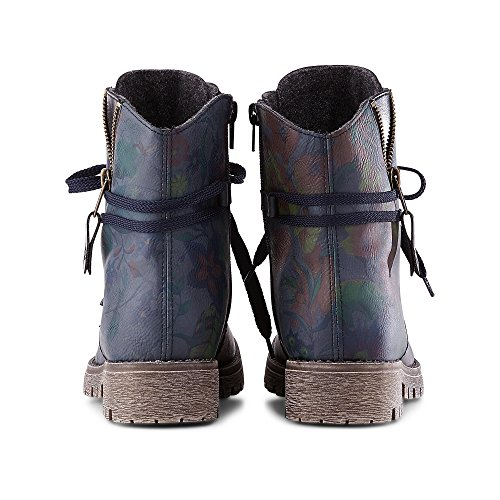 Rieker Women Ankle Boots Blue, (Lake/Schwarz) 78537-15 Blue & Navy & Navy floral