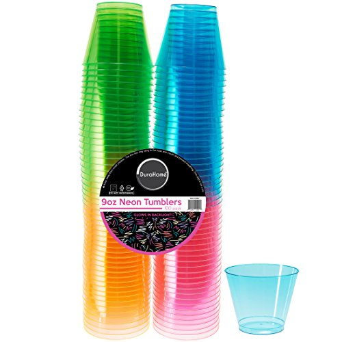 DuraHome - Hard Plastic Cups - 9 Oz. Party Cups Beverage Tumblers in Assorted Neon Colors (Blacklight Party) 100 Count