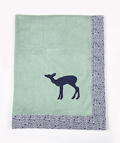 Border Baby Bedding (Bacati - Tribal/Aztec Plush Embroidered 30 x 40 inches Baby Blanket (Mint/Navy Bambi))