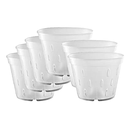 225 & YIKUSH 5.5 inch 10 Pack Orchid Clear Flower Pot Plastic Planter Breathable Slotted