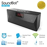 SoundBot SB1023 FM Radio Bluetooth 4.2 Wireless Portable Speaker Alarm Clock w/ 8hrs Music Streaming & 10hrs Hands-Free Calling, 4W + 4W 45mm Acoustic Sound Driver, Built-in Mic, Clock Display