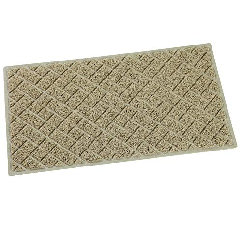 QYH Floor Mat Indoor Outdoor Entrance Doormat Non-Slip Welcome Front Door Mat Washable Dirty Trapper Carpet Rubber Backing Area Rug Durable Patio Scraper Turf (29.5 X 16.9, Beige)