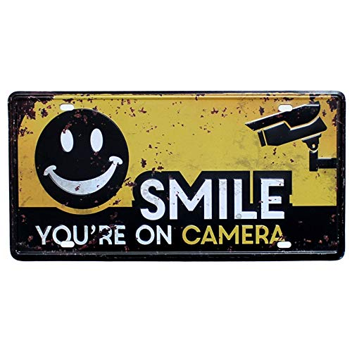 Smile You're on Camera Video Surveillance Sign Retro Tin Poster 12