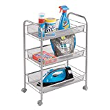 mDesign Portable Rolling Laundry Utility Cart Organizer Trolley with Easy-Glide Wheels and 3 Multipurpose Heavy-Duty Metal Mesh Basket Shelves – Wide Shelf - Durable Steel Frame, Silver