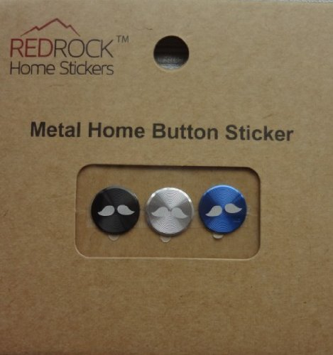Mustache 3 Pieces Black Silver Blue Aluminum Metal Home Button Stickers for iPhone 5 4/4s 3GS 3G, iPad 2, iPad Mini, iPod Touch